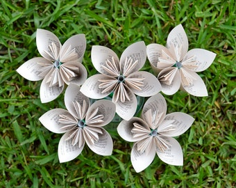 Romeo & Juliet Recycled Book Paper Flowers {5 Medium Size}