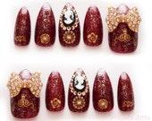 3D nails, gothic lolita, egl, goth, big bows, bling, burgundy, dark red, gold, stiletto nails