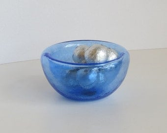 "Blue Mini Dish, 3"" Blown Glass Candy Dish, Pinch Bowl, Salt Cellar, Jewelry Holder, By Avalon Glassworks"