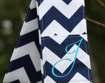 Camera Strap Cover- lens cap pocket and padding included- Monogrammed Navy Chevron