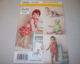 New Simplicity Baby Clothes Pattern, 1600 (Free US Shipping)