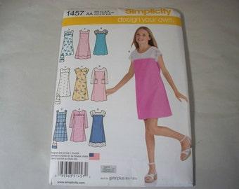 New Simplicity Girl's Dress  Pattern, 1457 AA (8, 10, 12, 14, 16)  (Free US Shipping)