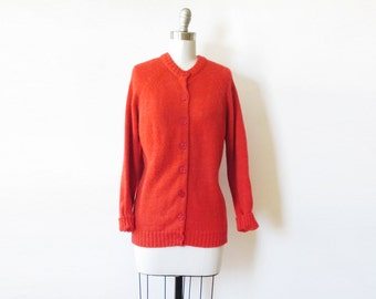 vintage red cardigan, 70s red sweater, large red button up sweater
