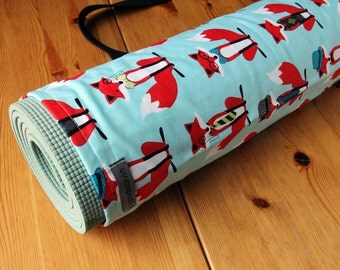 Yoga Mat Bag, Pilates Mat Bag, Red Foxes, Blue Yoga Bag, Yoga Mat Carrier, Cute