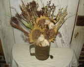 Primitive Sunflower, Bees, Vintage Sifter Floral Arrangement,  Sunflowers, Bees, Vintage Sifter, Summer, Fall, SCOFG,  Ofg, Faap, Hafair