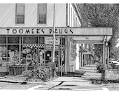 Toomer's Drugs Toomer's Corner Note Cards Stationary Reproduction Pen and Ink