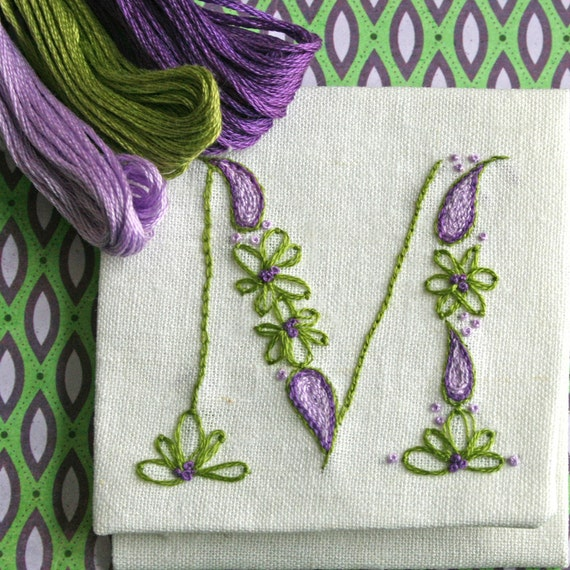 Crewel embroidery kit diy pattern pdf monogram m is for