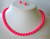 Single Strand Neon Pink Swarovski Pearl Beaded Necklace and Earring Set    Great Brides or Bridesmaid Gifts