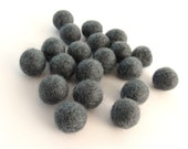Felt Balls Natural Charcoal - 20 Pure Wool Beads 15mm - Natural grey wool shades -   (W205)