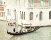 Travel Photography - Mint Green Visions of Venice - Red and White Stripes - Italy - 8x8 - romantic scene - pastel colours
