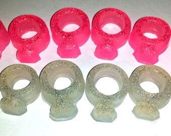 Ring Soap - Glitter Diamond Rings - Set of 6 Assorted Sizes - Engagement Parties - Soap for Girls - Party Favors - Birthdays