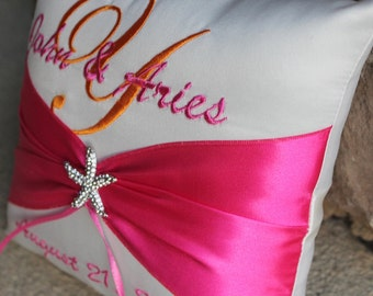 Shinning Starfish Destination Beach Themed Personalized Wedding Ring Bearer Pillow -White and Hot Pink Shown Other Colors Available