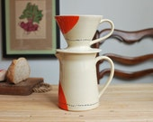 Pour Over Coffee Pitcher in Orange Dots