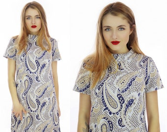 Mod Shift Dress 60s Paisley Textured Navy Blue Tan 70s MOD Mini 1960s Psychedelic Abstract A-Line  Retro Indie Day Dress Medium M Large L