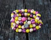 Cotton Candy Acai Beads Bracelet:  Colorful Acai Beads Memory Wire Bracelet / Eco friendly Jewelry, Organic Beads, Acai Seeds / Handmade