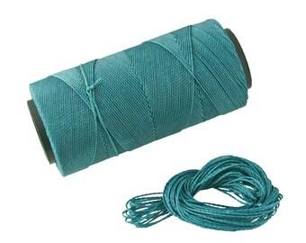 Teal Blue: Waxed Polyester Cord, ~1mm Macrame Cord, pack of 25ft (8.33 yards) / Hilo Encerado, Linha Encerada, Waxed Polyester Thread