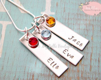Personalized Hand Stamped Triple Rectangle Tag Pendant Necklace with Swarovski Birthstones