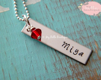 Personalized Hand Stamped Single Rectangle Tag Necklace with Swarovski Birthstone Charm
