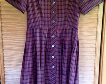 Vintage Lynbrook Plaid 50's Day Dress size large