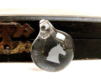 Horse Head  Pendant Etched Glass Jewelry Making Supply Pendant for Necklace #142