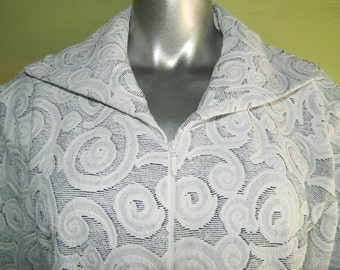 XL 16 80s Rococo Brocade Pattern Curvy Spirals Spandex Stretch Jacket Ravel Gray White High Quality
