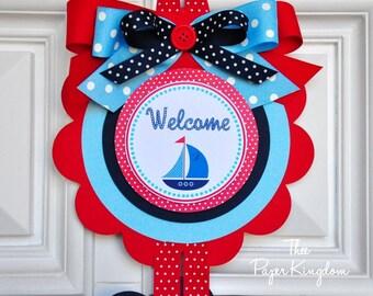 Nautical Door Sign, Nautical Birthday Party, Nautical Baby Shower, XL Vertical Door Sign