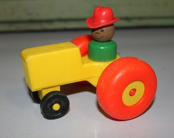 Fisher Price ~ Little People ~ Farmer Figure ~ Yellow Tractor ~ 2 Piece Set