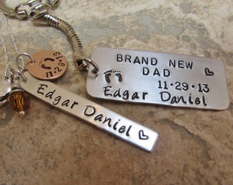 New Mommy and Daddy Set with Baby Feet, Birth Date, and Baby's Name Key Chain and Necklace for New Baby