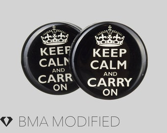 0g (8mm) Keep Calm Carry On BMA Plugs