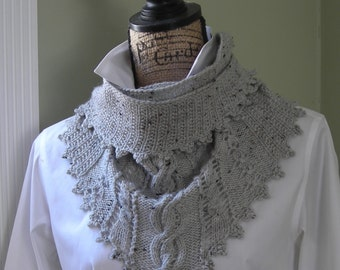 Knitting pattern - Clover Lace Cabled Shawlette crochet trim - PDF pattern - no charts - Irish knit scarf cowl shawl wrap dk or sock yarn