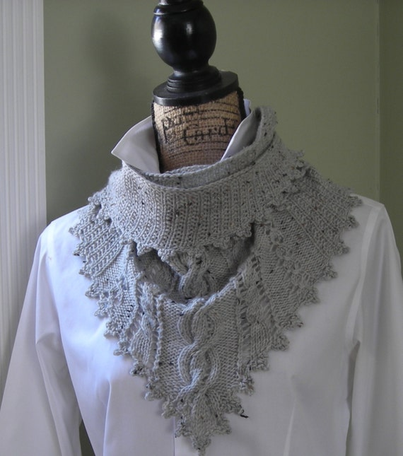 Knitting pattern Clover Lace Cabled Shawlette crochet trim