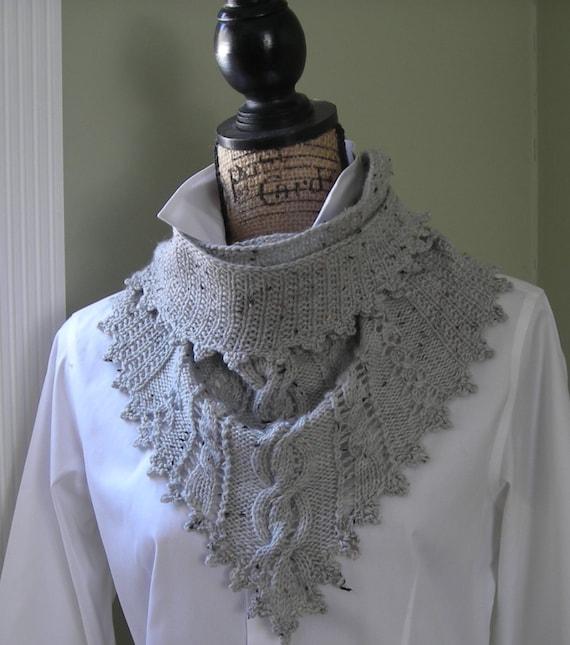 Irish Lace Knitting Pattern : Knitting pattern Clover Lace Cabled Shawlette crochet trim