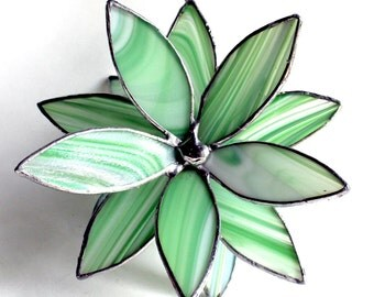 3D Stained Glass Suncatcher - In Full Bloom Green Baroque Flower-OOAK