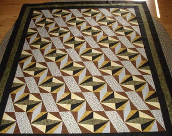 Handmade Quilt Top Rock Slide Scrappy Quilt Top Brown Green Gold Ready to be Quilted