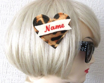 Personalized name banner felt heart Hairclip, Tattoo Style by Dolly Cool