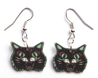 Cat Earrings - Original Design by Dolly Cool Zombie Horror B Movie Scare