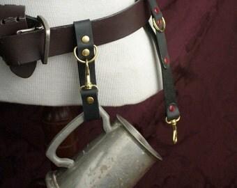 Goth Steampunk Mug hook, belt hanger, belt loop, Mug Frog, Black, charcoal or brown Leather, SCA Garb, LARP, Pirate, Renfaire, festival