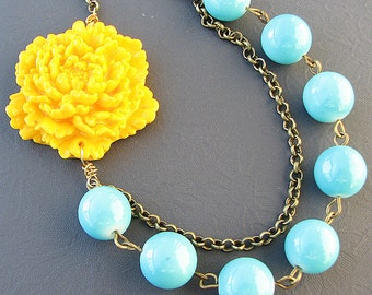 Bridesmaid Gift Flower Necklace Turquoise Jewelry Statement Necklace Beaded Necklace Yellow Necklace