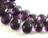 Amethyst Pear Briolette,  Faceted Amethyst, AAA MATCHED PAIRS,  2 Pcs, High Quality, Brides, Feburary Birthstone, 11x7-12x9mm