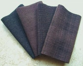 "Hand Dyed Wool Felt, SABLE, Four 6.5"""" x 16"" pieces in Deep Mink Brown, Great for Backgrounds"