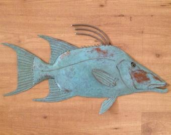 Hogfish Metal Wall sculpture Tropical Beach Coastal Fish Art