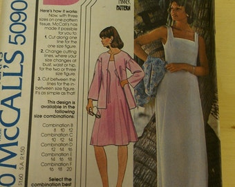 Princess Dress with Square Neck and Drop Shoulder Jacket 8 10 12 McCalls 5090