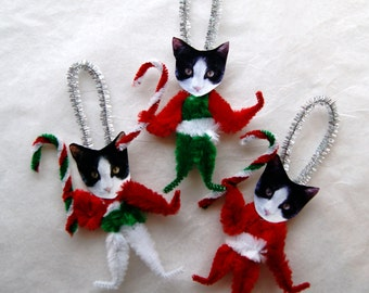 Cat Ornaments, Chenille Vintage Style, Christmas Tree ornaments, Tuxedo Cats  (112)
