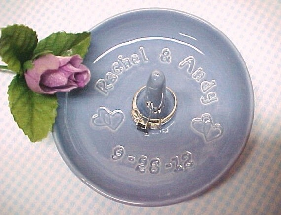 Pottery Wedding Gifts: Custom Engraved Ring Dish Personalized Wedding By