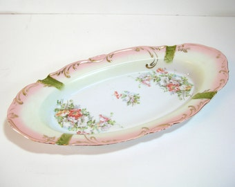 Antique Oval Plate With Flowers