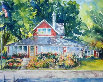House Portrait Original Water Color portrait of your house include two free Archival Prints