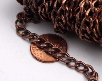 Antique Copper Chain bulk Chain, 5 ft. Antique Copper Vintage Big Chunky Curb Chain - 5.5x8.0mm Unsoldered Link - Ship from California USA