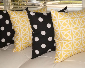 Linked In Sunny Yellow and Polka Black and White Outdoor Throw Pillow - Free Shipping