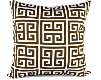 Premier Prints Towers Bay Brown and White Outdoor Decorative Pillow - Brown and white Greek Key Pillow - Free Shipping