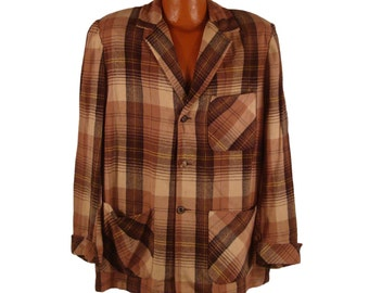 Plaid Coat Vintage 1960s Wool Light 49er Jacket Browns Minnesota Woolen Men's